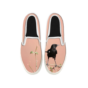 Womens Mens Sneaker Canvas Loafers,Flat Shoes,Unisex Art Sneaker,A Crow On A Branch