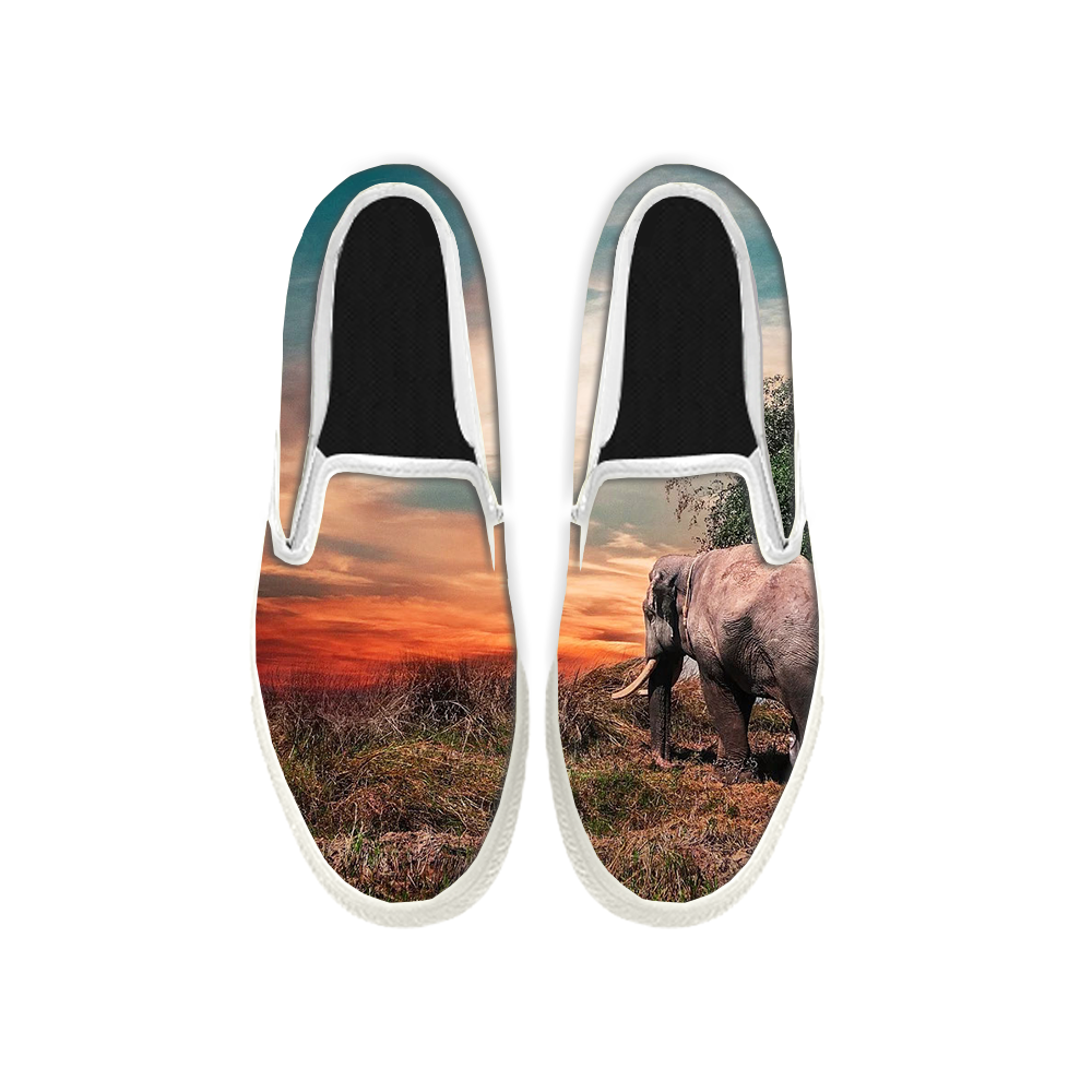 Womens Mens Sneaker Canvas Loafers,Flat Shoes,Unisex Art Sneaker,The Lone Elephant