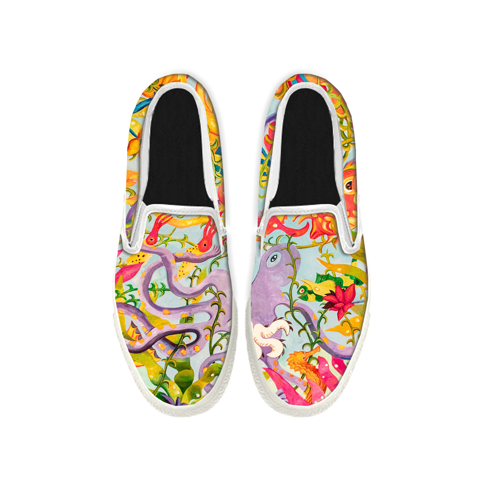 Womens Mens Sneaker Canvas Loafers,Flat Shoes,Unisex Art Sneaker,Octopus Comic