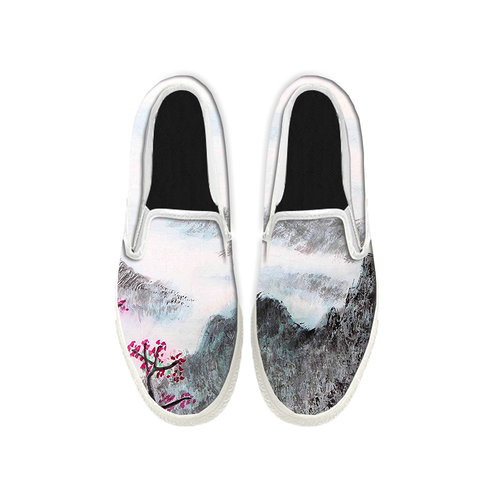 Womens Mens Sneaker Canvas Loafers,Flat Shoes,Unisex Art Sneaker,Ink Landscape Painting