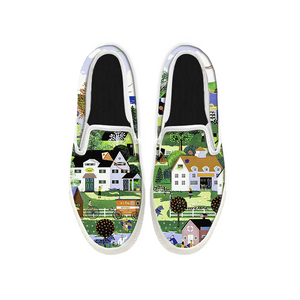 Womens Mens Sneaker Canvas Loafers,Flat Shoes,Unisex Art Sneaker,Town Scenery
