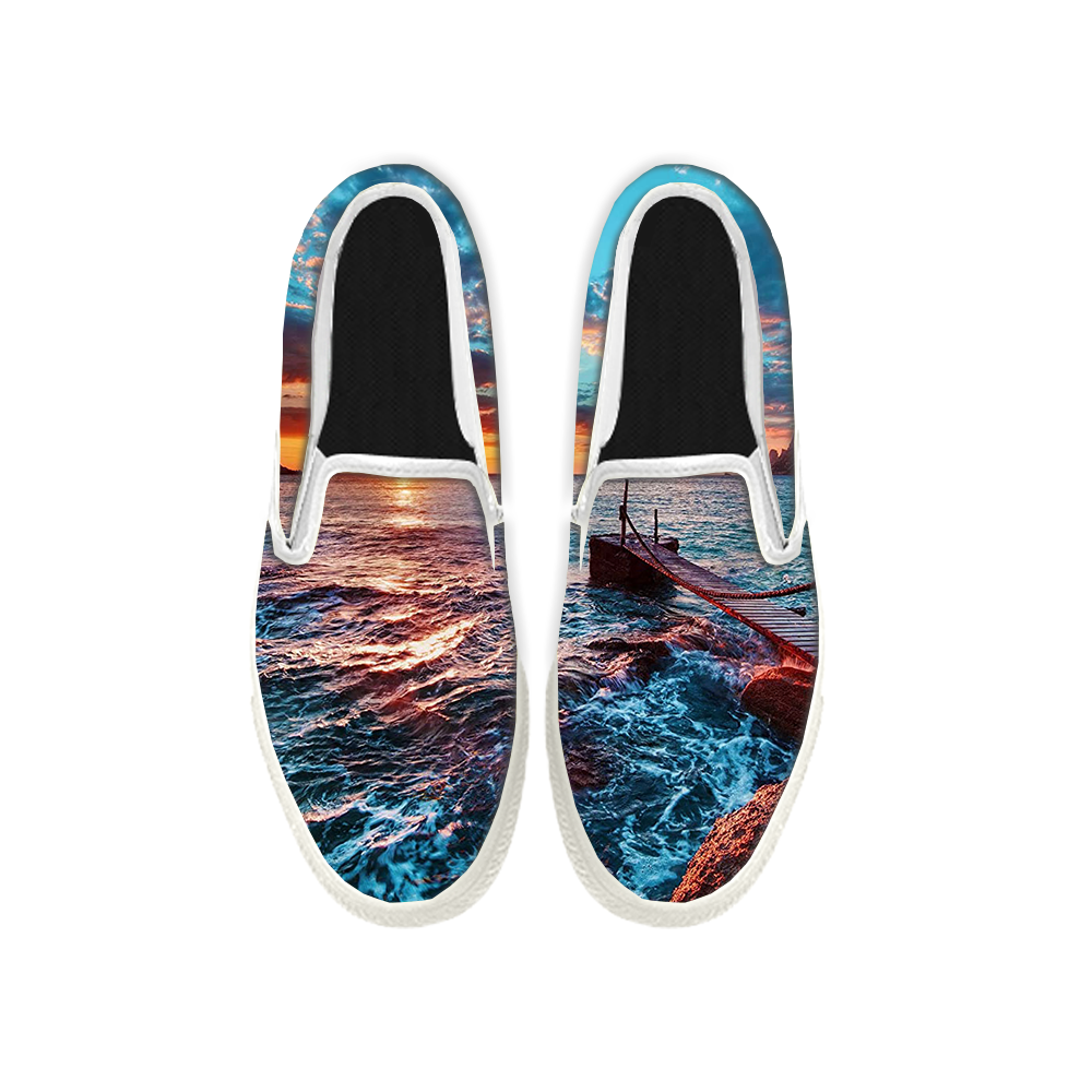 Womens Mens Sneaker Canvas Loafers,Flat Shoes,Unisex Art Sneaker,Sunrise on The Sea