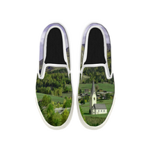 Load image into Gallery viewer, Womens Mens Sneaker Canvas Loafers,Flat Shoes,Unisex Art Sneaker,Green Small Town
