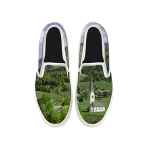 Womens Mens Sneaker Canvas Loafers,Flat Shoes,Unisex Art Sneaker,Green Small Town