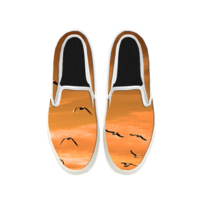 Womens Mens Sneaker Canvas Loafers,Flat Shoes,Unisex Art Sneaker,Seagulls Spread Their Wings