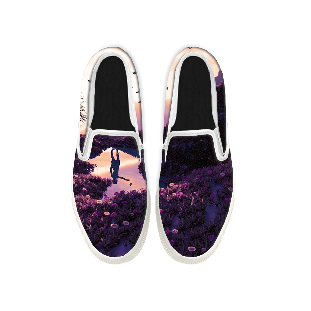 Womens Mens Sneaker Canvas Loafers,Flat Shoes,Unisex Art Sneaker,In Full Bloom