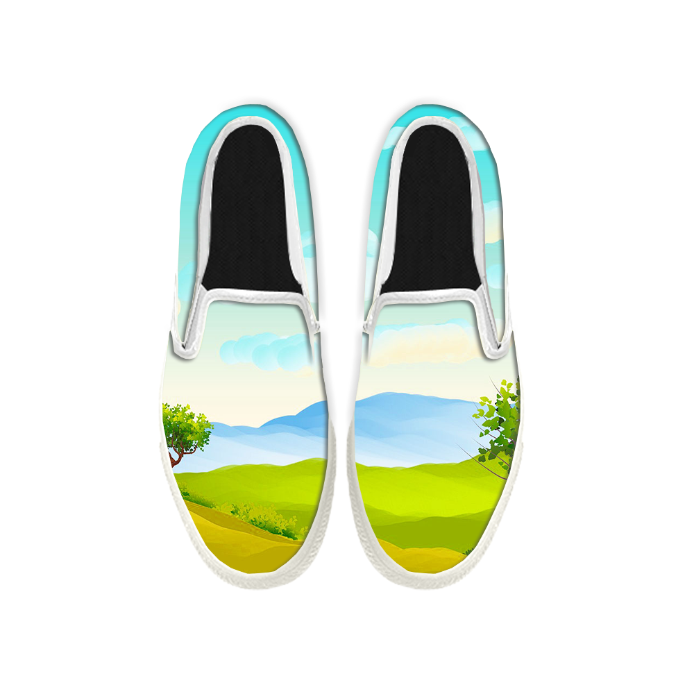 Womens Mens Sneaker Canvas Loafers,Flat Shoes,Unisex Art Sneaker,Fresh Grass
