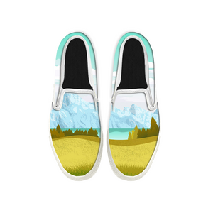 Womens Mens Sneaker Canvas Loafers,Flat Shoes,Unisex Art Sneaker,Fresh Landscape Painting