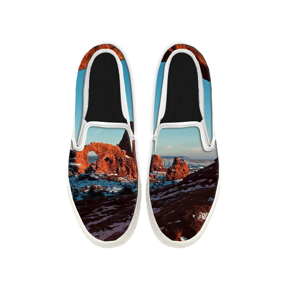 Womens Mens Sneaker Canvas Loafers,Flat Shoes,Unisex Art Sneaker,The Mountain Snow