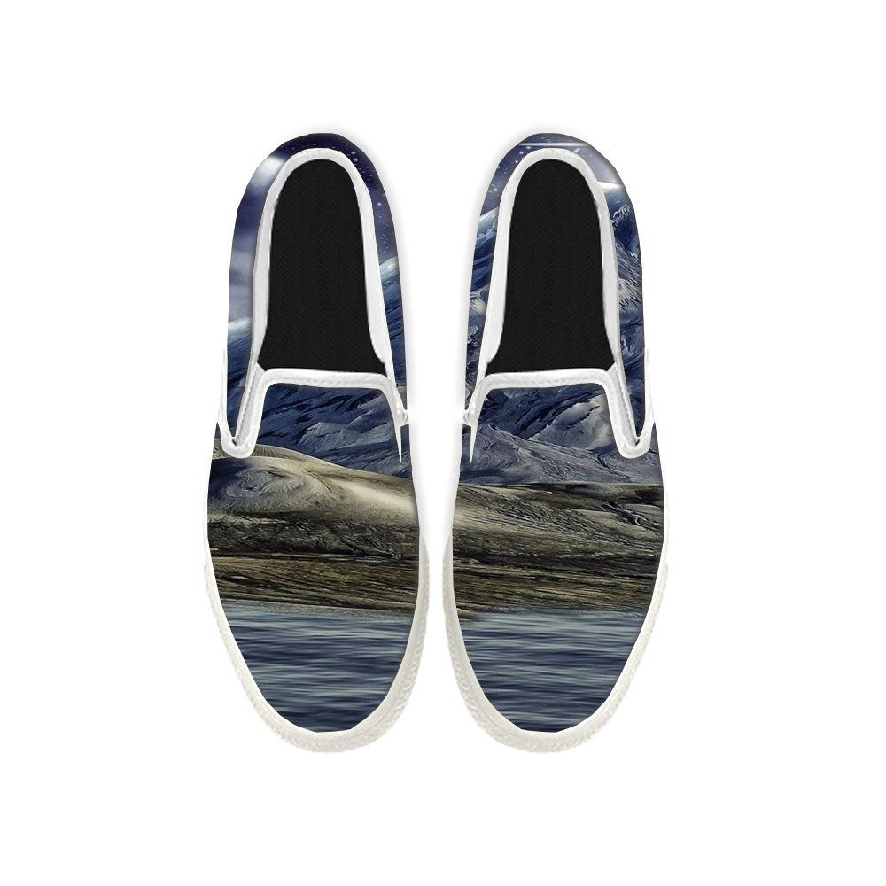 Womens Mens Sneaker Canvas Loafers,Flat Shoes,Unisex Art Sneaker,Ice Snow Mountain