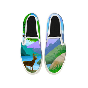 Womens Mens Sneaker Canvas Loafers,Flat Shoes,Unisex Art Sneaker,Deer Crossing The River