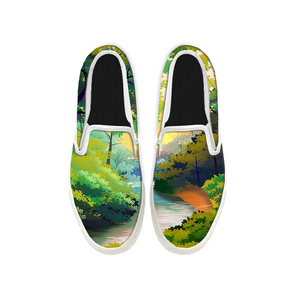 Womens Mens Sneaker Canvas Loafers,Flat Shoes,Unisex Art Sneaker,Hand-painted Forest Path