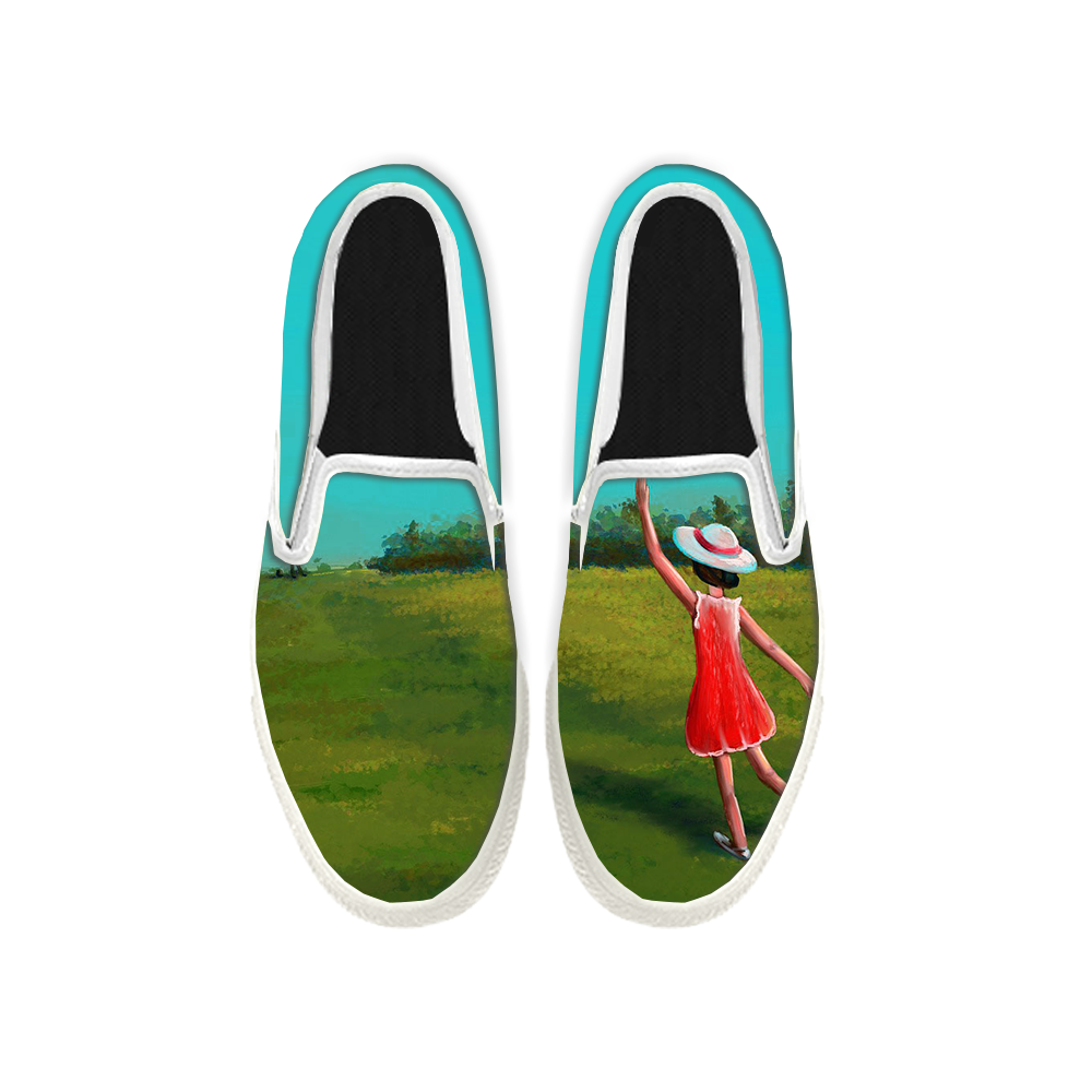 Womens Mens Sneaker Canvas Loafers,Flat Shoes,Unisex Art Sneaker,The Girl in The Red Skirt