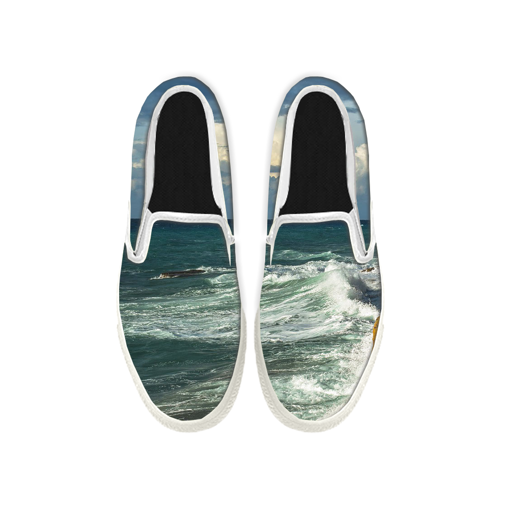 Womens Mens Sneaker Canvas Loafers,Flat Shoes,Unisex Art Sneaker,Rolling Waves