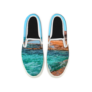 Womens Mens Sneaker Canvas Loafers,Flat Shoes,Unisex Art Sneaker,The Blue Sea