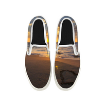 Load image into Gallery viewer, Womens Mens Sneaker Canvas Loafers,Flat Shoes,Unisex Art Sneaker,Gold Beach