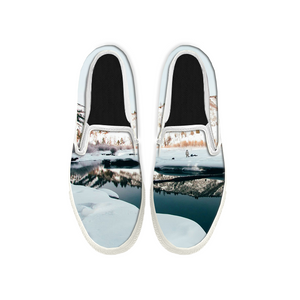 Womens Mens Sneaker Canvas Loafers,Flat Shoes,Unisex Art Sneaker,On The Snow