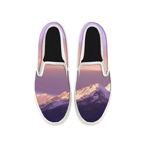 Womens Mens Sneaker Canvas Loafers,Flat Shoes,Unisex Art Sneaker,Purple Landscape