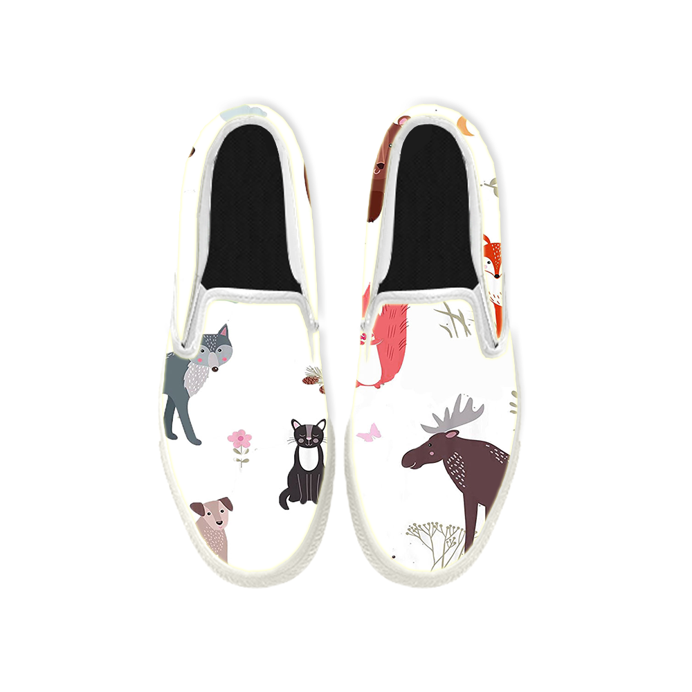 Womens Mens Sneaker Canvas Loafers,Flat Shoes,Unisex Art Sneaker,A Party Of Small Animals