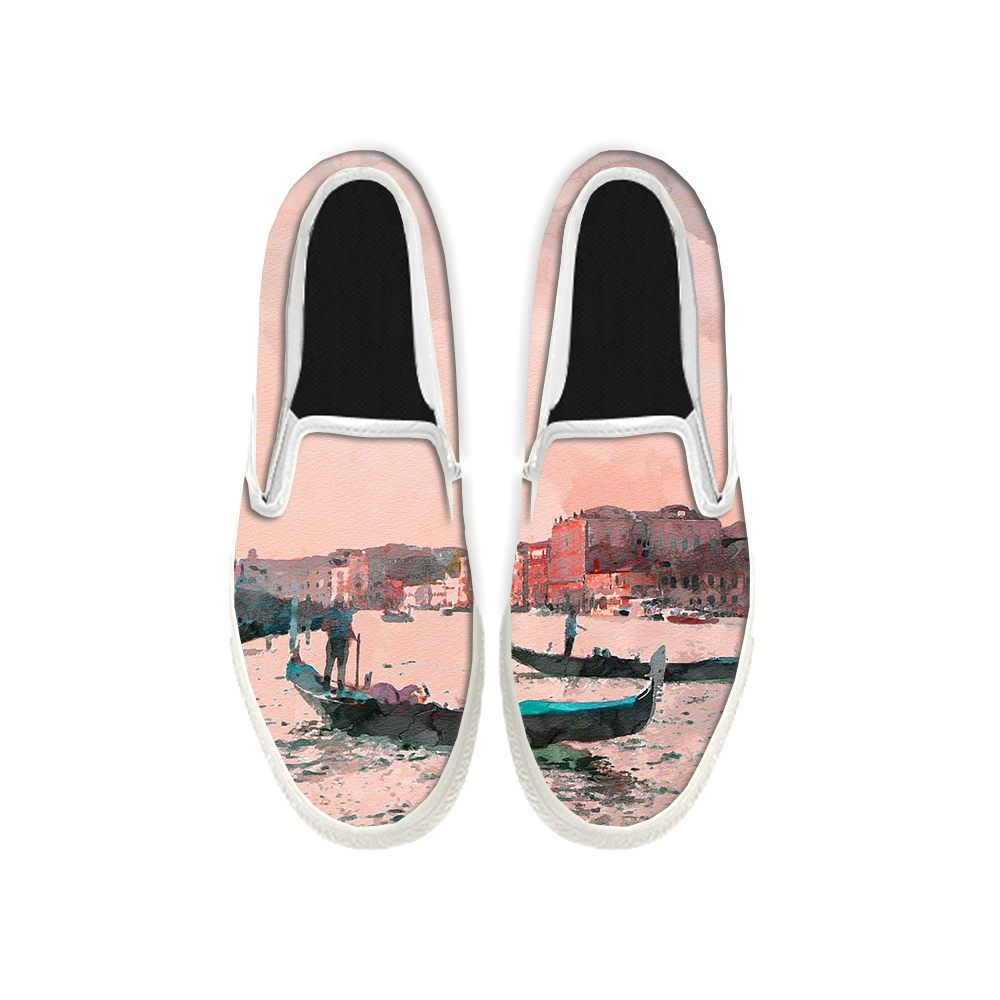 Womens Mens Sneaker Canvas Loafers,Flat Shoes,Unisex Art Sneaker,Beach Combing Painting