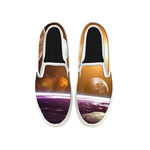 Womens Mens Sneaker Canvas Loafers,Flat Shoes,Unisex Art Sneaker,Moon and Splendour