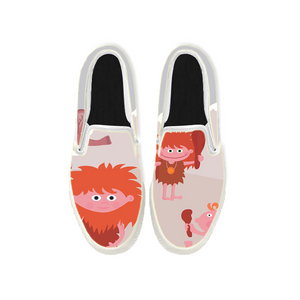 Womens Mens Sneaker Canvas Loafers,Flat Shoes,Unisex Art Sneaker,Three Children with Red Hair