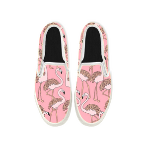 Womens Mens Sneaker Canvas Loafers,Flat Shoes,Unisex Art Sneaker,Migratory Flamingos