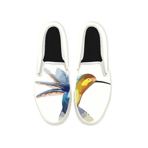 Womens Mens Sneaker Canvas Loafers,Flat Shoes,Unisex Art Sneaker,Watercolor Painting of Hummingbirds