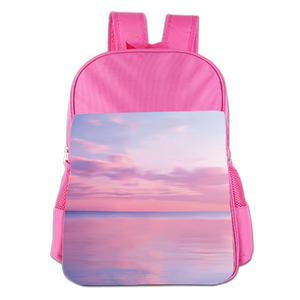 Pink Sea And Sky  Cute Simple Large Capacity Children's Schoolbag Girls Commuter Backpack