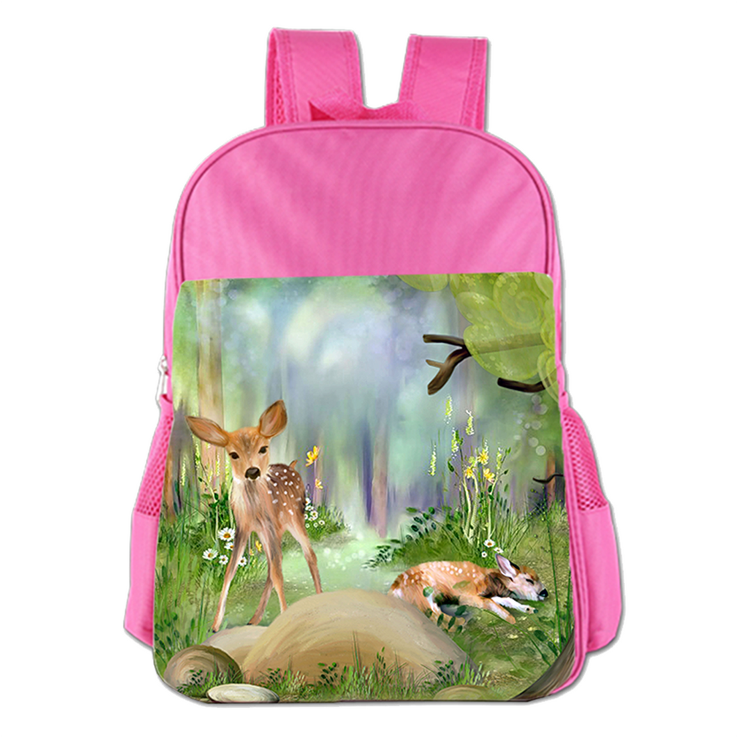 The Deer In The Forest Cute Simple Large Capacity Children's Schoolbag Girls Commuter Backpack