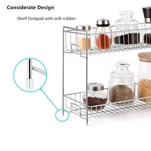 2-Tier Spice Racks Countertop-Silver