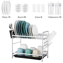 Load image into Gallery viewer, 2 Tier Dishes Drainer Aluminum Dish Drying Rack