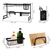 "Load image into Gallery viewer, Over Sink Dish Drying Rack for Counter (Sink size≤36 "", Black)"
