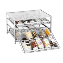 Load image into Gallery viewer, HEOMU 3-Tier Spice Rack 30 Bottle Standing Spice Drawer- Silver