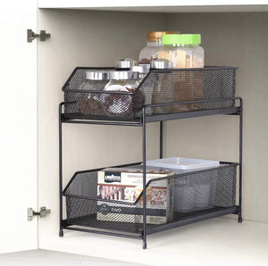 2 Tier Sliding Basket Organizer KitchenCabinet Organizer Drawer in Brown for Bathroom Kitchen Office