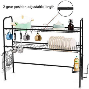 HEOMU 2-Tier Dish Over The Sink Dish Drying Rack (Black)