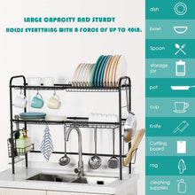 Load image into Gallery viewer, HEOMU 2-Tier Dish Over The Sink Dish Drying Rack (Black)