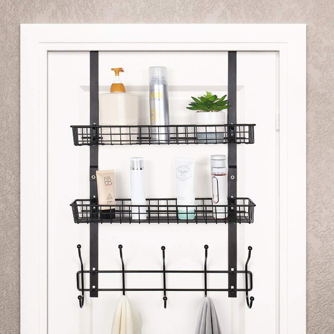 Over The Door 5 Hook Shelf Organizer Hanger - Brown