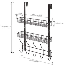 Load image into Gallery viewer, Over The Door 5 Hook Shelf Organizer Hanger - Brown