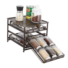 Load image into Gallery viewer, 3-Tier Spice Rack 18-Bottle Standing Spice Drawer-Dark Brown