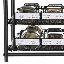 Load image into Gallery viewer, HEOMU 3-Tier Spice Rack 24-Bottle Standing Spice Drawer-Dark Brown