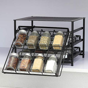 HEOMU 3-Tier Spice Rack 24-Bottle Standing Spice Drawer-Dark Brown