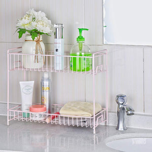 2-Tier Spice Racks Countertop-Rose gold