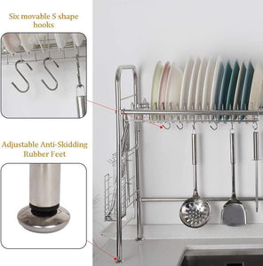 Single Tier Over Sink Dish Drying Rack- Silver