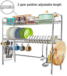 HEOMU Over The Sink Dish Drying Rack,2-Tier SUS304 Large Dish Drainers for Kitchen Counter(UPC:758277050661)
