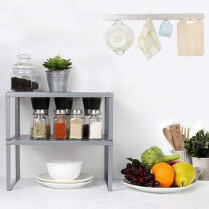 HEOMU Kitchen Cabinet And Counter Shelf Organizer, Expandable & Stackable, Silver