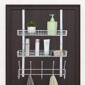 Over The Door 5 Hook Shelf Organizer Hanger - White