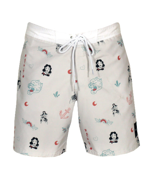 "OLD SKOOL 17"" BOARDSHORT/CREAM"