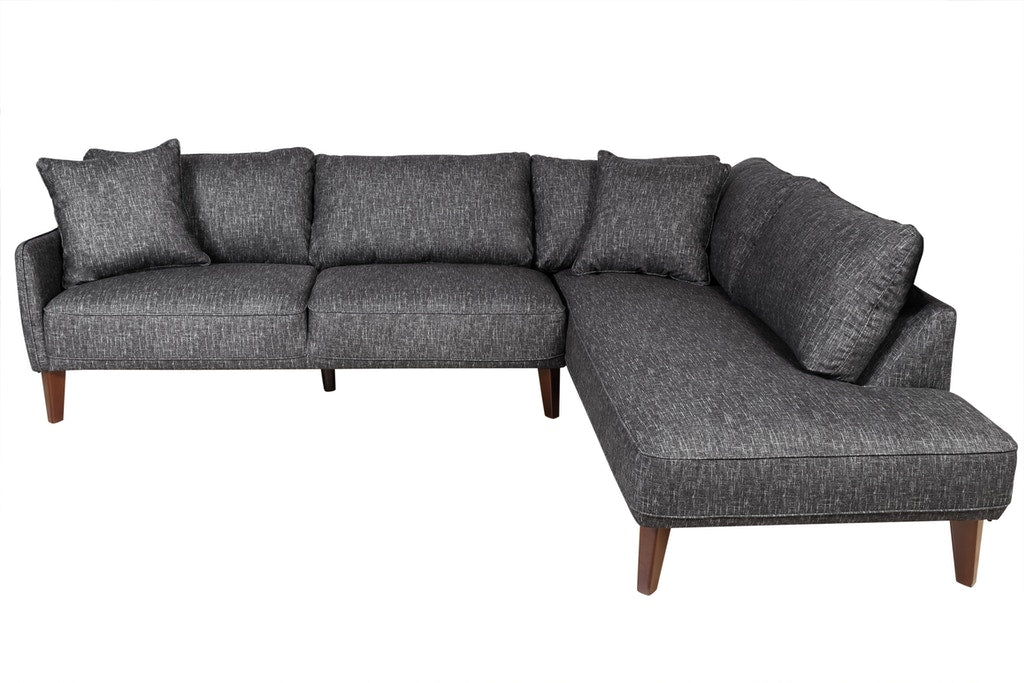 Asher Collection Sectional w/RHF Corner Chaise - Charcoal Gray