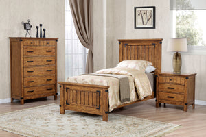 Brenner Collection Twin Panel Bed - Rustic Honey Finish